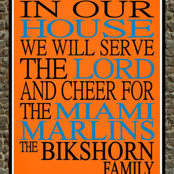 Customized Name Miami Marlins MLB Baseball personalized family print poster Christian gift sports wall art - multiple sizes