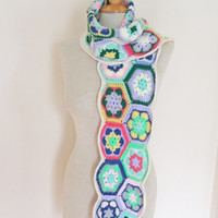 Crochet Scarf, Afgan Crochet Scarf, Colourful Scarf, Boho Style Scarf, UK Seller