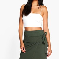 Lizbeth Asymetric Wrap Tie Mini Skirt