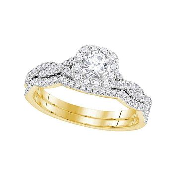 14kt Yellow Gold Womens Round Diamond Twist Bridal Wedding Engagement Ring Band Set 5/8 Cttw