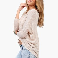 Button Back Knit in Taupe