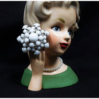 Domed Milk Glass Rhinestone Brooch