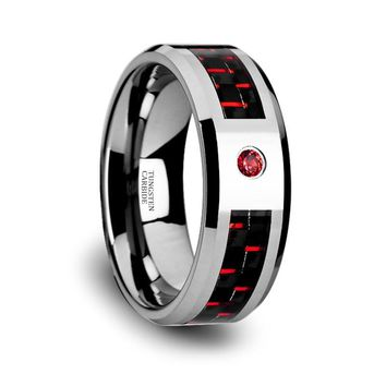 Red Diamond Wedding Band - Tungsten Ring - Red and Black Tungsten - Red Carbon Fiber - Beveled Edge - Tungsten Wedding Band - 8mm