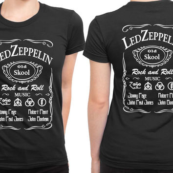 Led Zeppelin Old School Rock And Roll 2 Sided Womens T Shirt