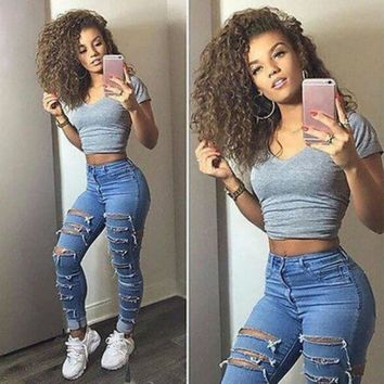 New Women Jeans Denim Skinny Ripped Pants High Waist Stretch Jeans Slim Pencil Pants Blue Trousers L