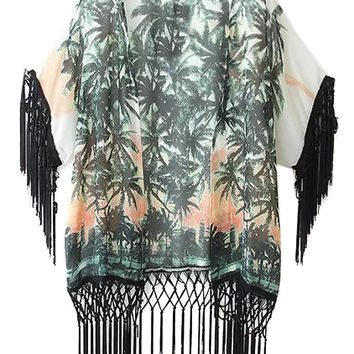 Multi Colored Tropical Print Sleeve Fringe Chiffon Kimono