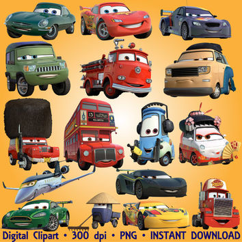 Cars Clipart Disney Cartoon 56 PNG Digital Graphic Disney Cars 2 Clip Art Scrapbooking Invitations INSTANT DOWNLOAD printable 300 dpi