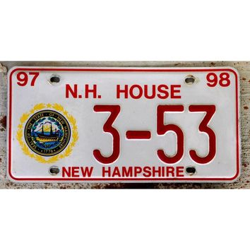 1997 New Hampshire House of Representatives Personal Car License Plate 3-53