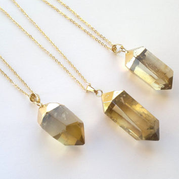 Lemon Quartz Necklace Gold Dipped Stone Pendant Yellow Crystal Point Big Stone Gold Necklace Faceted Crystal Quartz Jewelry Gold Plated