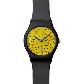 Cute happy faces collage wrist watch