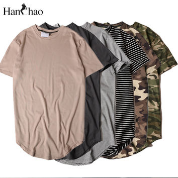 HANCHAO Men's T-shirt 2017summer Solid Color Curved Hem Long Line Camouflage Hip Hop Tshirt Elong Plain Kanye Tee Shirts Men Top