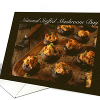 National Stuffed Mushroom Day with Recipe card