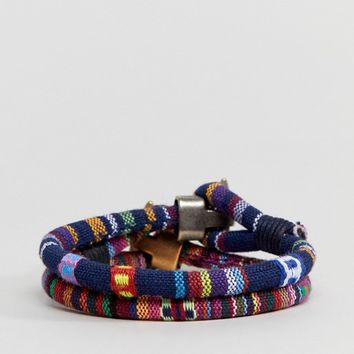 ASOS DESIGN 2 Pack Woven Bracelets In Navy And Red at asos.com