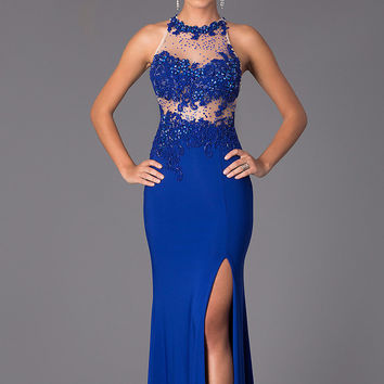 Colors 1143 Jersey Beaded Sheer Illusion High Neck Prom Dress SALE