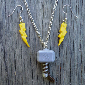 Thor's Hammer (Mjolnir) Necklace and Lightning Bolt Earrings Set, Avengers Inspired.