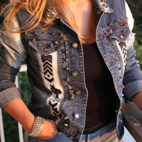 Denim super studded with hand painted by jeansgonewild on Etsy