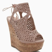 Grace Lasercut Cutout Cork Wedge