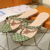 LV Louis Vuitton Sandals Flat Slippers Green Women Comfortable Shoes