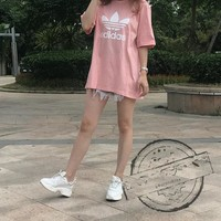 """Adidas""Fashion Casual Clover Pattern Letter Round Neck Short Sleeve T-shirt"
