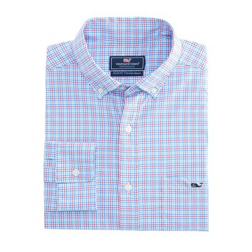 Boldwater Plaid Performance Tucker Shirt in Sailors Red by Vineyard Vines