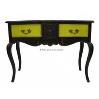 Fabulous & Baroque ? Fabulous French Napolean 3 Drawer Console - Chartreuse