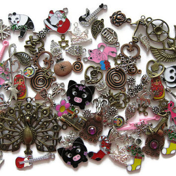 Over 80 Pcs Assorted Charms Small Pendants for Jewelry Making Crafts Arts Metal Acrylic Peacock Christmas Cat Flower