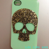 Mint green skull  iphone 4 case cover iphone 4s case iphone 5 case iphone 5 cover
