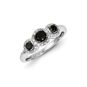 3/4 Ctw Black & White Diamond Triple Circle Sterling Silver Ring