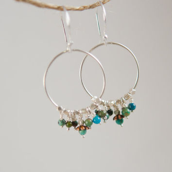 Silver Earrings, Chinese Turquoise, Silver Hoops, Boho Jewelry, Sundance Style Jewelry