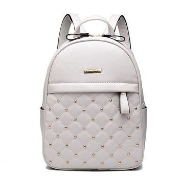 Quilted PU Leather Backpack - White