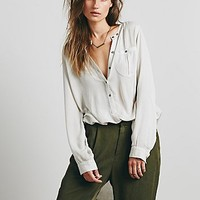 Free People Womens Solid Deep V Boyfriend Shirt