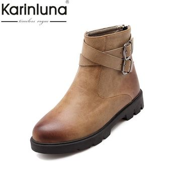 KARINLUNA Large Size 34-43 Retro Western Boots Women Shoes Woman Zip Up Buckles Autumn Winter Ankle Boots Add Fur Footwear