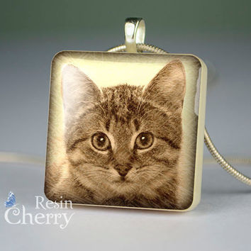 cat scrabble tile pendant,cat necklace pendants,cat glass pendant,cat resin pendants- A0379SP