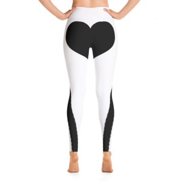 Heart Shaped Yoga Leggings - White/Black
