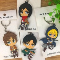 Cool Attack on Titan Hot sale  20 pcs Cartoon mixed Japanese anime   Double-sided   PVC keychains Anime Keychain  B102 AT_90_11