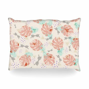 "Mmartabc ""Pattern Tropical Beach"" Coral Green Illustration Oblong Pillow"