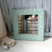 Mint Green Ornate Mirror, Small Square Mirror, Pastel Green Mirror, Shabby Chic, Cottage Chic Mirror, Nursery Decor