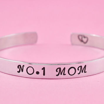NO.1 MOM - Hand Stamped Aluminum Cuff Bracelet, Mother's Day Gift, Family Love Bracelet