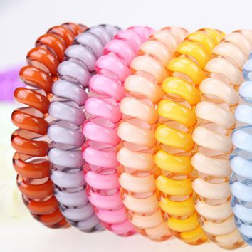 Awesome spiral retro telephone cord hair bands; 80s style fun