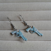 Mint guns  silvertone dangle earrings