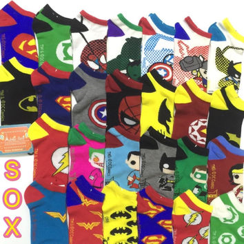 35-41 MARVEL DC Socks Hero IronMAN BatMan SuperMan Green Lantern SpiderMan Flash Captain America Avengers Thor Hulk Wonder Woman