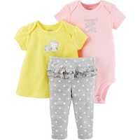 Child of Mine By Carters Newborn Baby Girl Tshirt, Bodysuit, and Pant Set - Walmart.com
