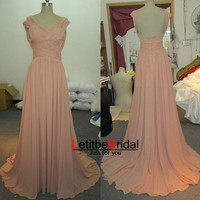 2014 New Fashion Cheap A line Ruched Long Backless Chiffon Coral Evening Dress Gown/Prom Dress/Bridesmaid Dress/Party Dress/Plus size