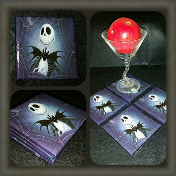Nightmare Before Christmas Jack ceramic drink coasters, wall art or decorative plate handmade Tim Burton
