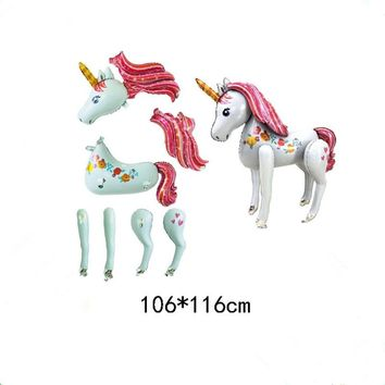Stand Unicorn Foil Balloons 3D Horse Air Globos Birthday Party Decorations Kids Wedding Decor Unicorn Party Supplies