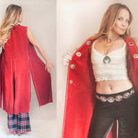 70s Red Suede Long Vest Duster Waistcoat | Unisex Western Leather Vest | Americana Boho Chic Gypsy Hippie 1970s | Sleeveless Leather Jacket