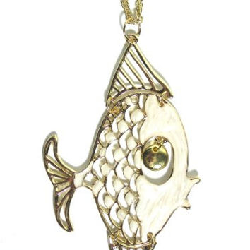 White Angel Fish Necklace Gold Tone Coral Reef NA30 Ocean Mermaid Articulated Pendant