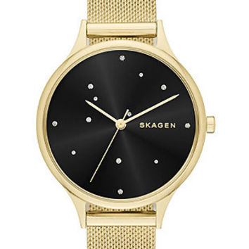 Skagen Womens Starry Starry Night Anita Watch - Gold-Tone - Black Dial - Mesh