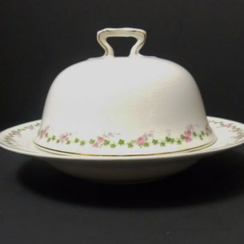 Antique Covered dish Butter dish Cheese dish display dish 101 year old dish pink flowers green leaves gold trim