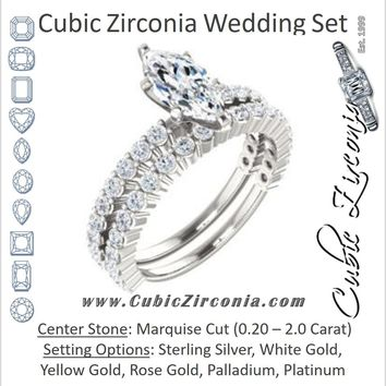 CZ Wedding Set, featuring The Thea engagement ring (Customizable 8-prong Marquise Cut Design with Thin, Stackable Pavé Band)